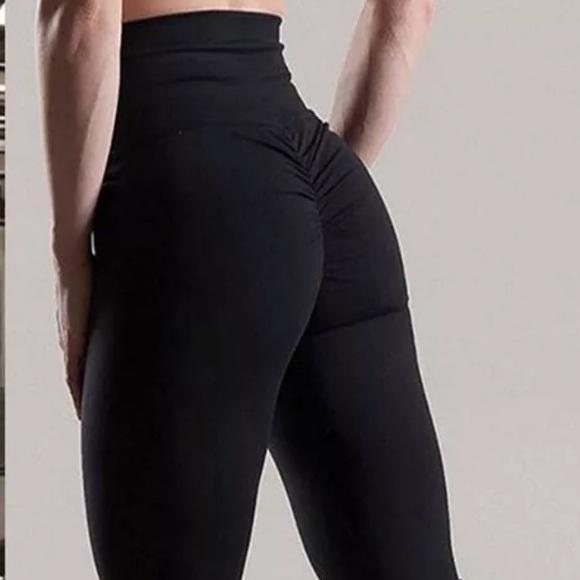 8f2da2a2db8 Black ruched Brazilian butt lift pants skinny yoga